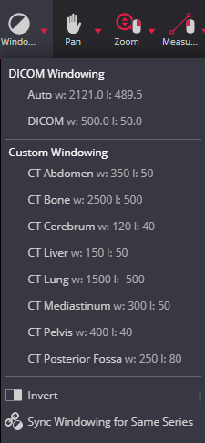 Sync Windowing For Same Series Menu Dicom Viewer