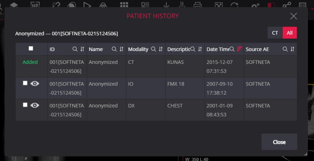 Meddream Dicom Viewer Patient History Table
